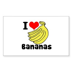 I Heart (love) Bananas Sticker (Rectangle 10 pk)