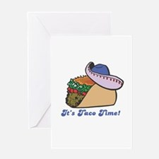 Taco Time (Taco with Sombrero Greeting Card