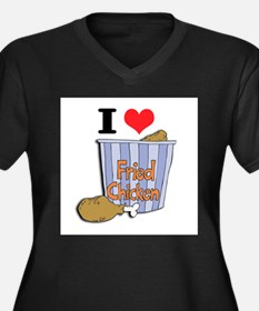I Heart (Love) Fried Chicken Women's Plus Size V-N