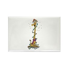 Christmas Giraffe in Lights Rectangle Magnet (100