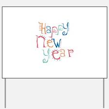 Pastel Happy New Year Yard Sign