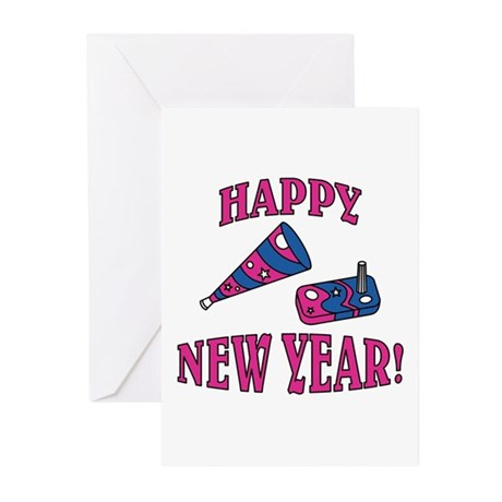 Happy New Year Noise Makers D Greeting Cards (Pk o