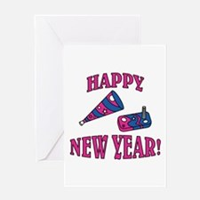 Happy New Year Noise Makers D Greeting Card