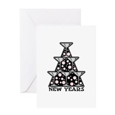 New Year's Martini Glass Towe Greeting Card