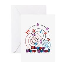 Happy New Year Swirl Greeting Card