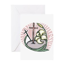 Easter Lily and Cross Design Greeting Card