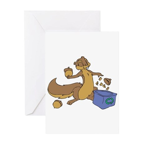 Squirrel Recycling Nutshells Greeting Card