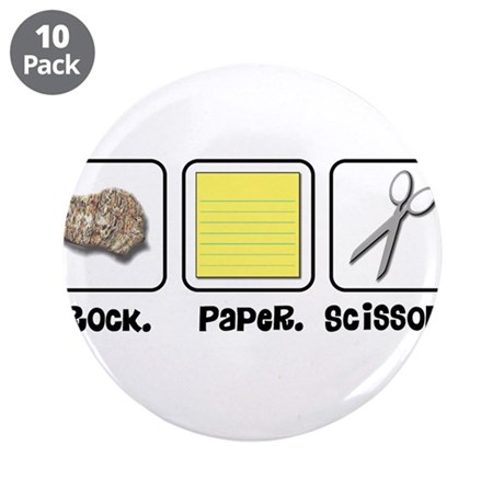 "Rock Paper Scissors 3.5"" Button (10 pack)"