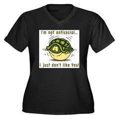 Antisocial Women's Plus Size V-Neck Dark T-Shirt