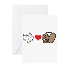 Cock Loves Beaver Greeting Cards (Pk of 20)