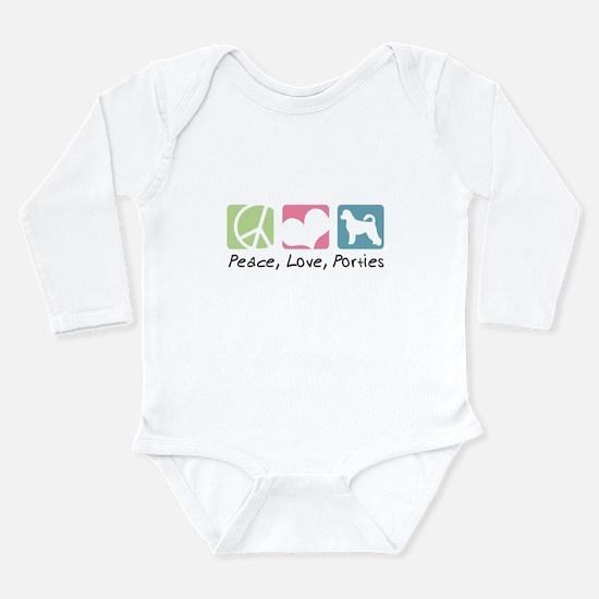 Peace, Love, Porties Long Sleeve Infant Bodysuit