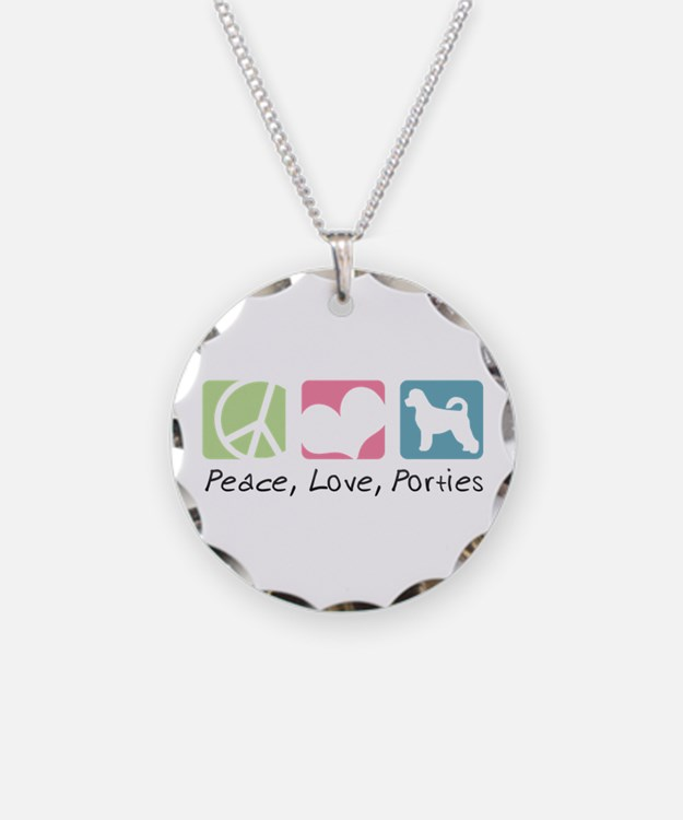 Peace, Love, Porties Necklace Circle Charm