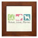 Peace, Love, Porties Framed Tile
