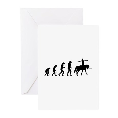 Evolution horse rider Greeting Cards (Pk of 10)