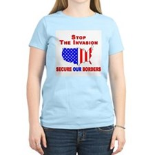 Border Security Stop The Inva Women's Pink T-Shirt