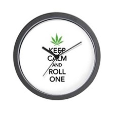 Keep calm and roll one Wall Clock