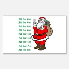 Add Your Own Text Santa Sticker (Rectangle)