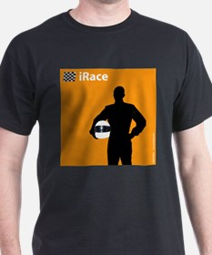 iRace Orange Race Car Driver Black T-Shirt