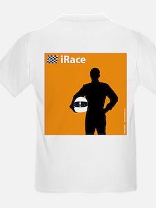 iRace Orange Race Car Driver Kids T-Shirt