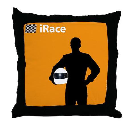 iRace Orange Race Car Driver Throw Pillow