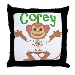 Little Monkey Corey Throw Pillow