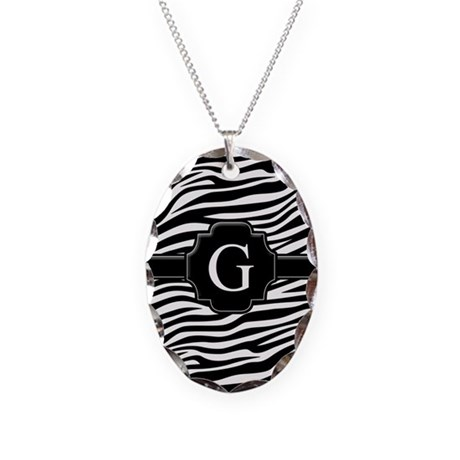 Monogram Letter G Gifts Necklace Oval Charm