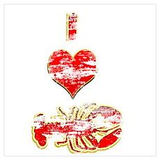 Vintage I heart Lobster Poster