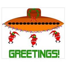 Space Aliens Christmas Poster