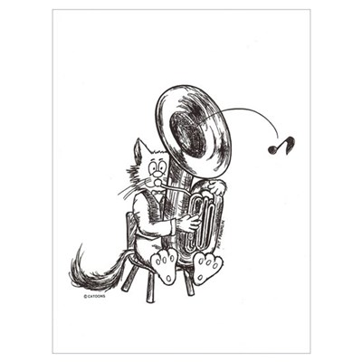 Catoons tuba cat Poster