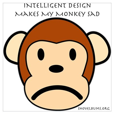 Intelligent Design Makes My Monkey Sad... Small Po Framed Print