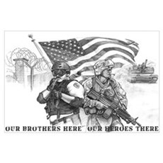 Heroes Black and White Prints Poster