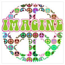 Retro Peace Sign Imagine Poster