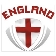 Soccer Crest ENGLAND red / grey Canvas Art