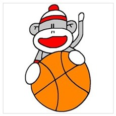 Sock Monkey with Basketball Framed Print