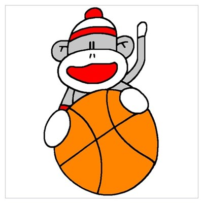 Sock Monkey with Basketball Poster