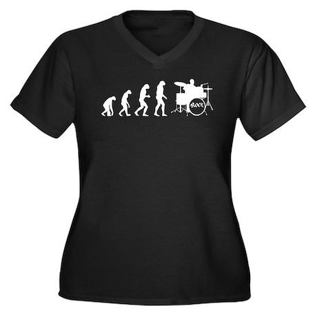 Evolution drum Women's Plus Size V-Neck Dark T-Shi