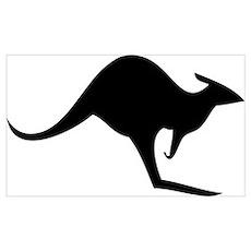 australian kangaroo black log Poster