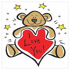 I Love You Teddy Bear Poster