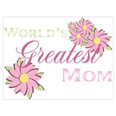 World's Greatest Mom Pink Flowers Prin Canvas Art