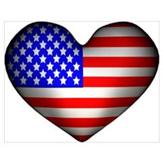 3D USA Flag Heart Poster