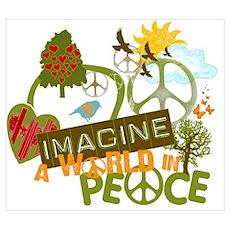 Imagine Peace Unique Collage Art Poster