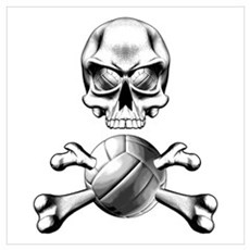 Volleyball Skull Poster