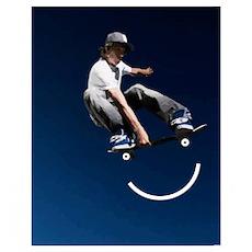 Skate Smiley Face Poster