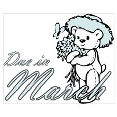Due In March Blue Flower Tedd Poster