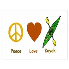 Peace,Luv,Kayak Framed Print