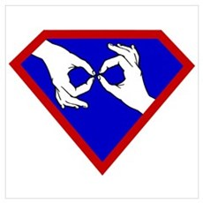 Super ASL Interpreter - Blue Framed Print