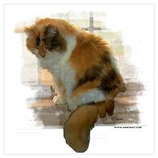 Window Calico Cat Poster