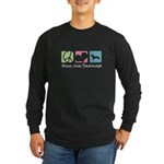 Peace, Love, Dachshunds Long Sleeve Dark T-Shirt