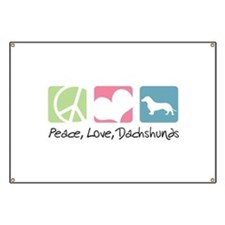Peace, Love, Dachshunds Banner
