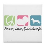Peace, Love, Dachshunds Tile Coaster